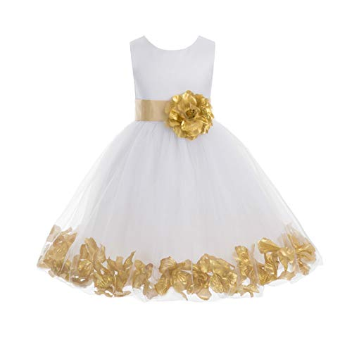 ekidsbridal Wedding Pageant Flower Petals Girl White Dress with Bow Tie Sash 302a 6