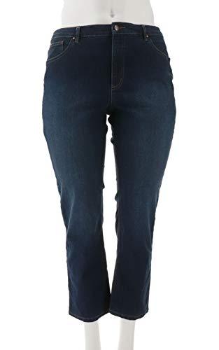 Denim & Co 5-Pocket Slim Straight Leg Full Len Jeans Antique 14P New A296668 ()