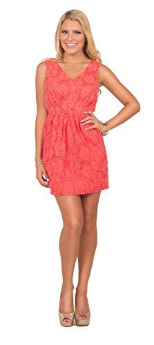 Sleeveless V-Neck Rose Design Overlay Ruched Empire Waist Mini Bubble Dress