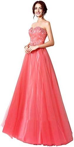 Kapelle Brautkleider Frauen-Satin-Hochzeits-Brautjunfer-Kleid-trägerloses Schatz-Spitze-Brautkleid Brautkleid (Farbe : Coral red, Size : US22)