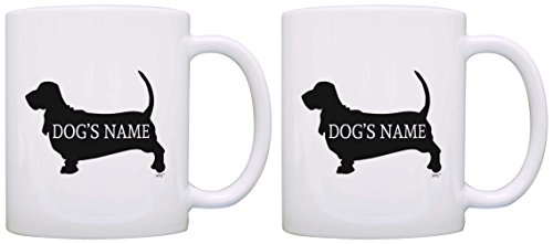 Custom Basset Hound Gifts Add Dog's Name Owners Personalized 2 Pack Gift Coffee Mugs Tea Cups White
