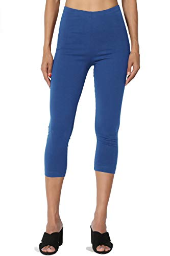 (TheMogan Women's Cotton Jersey High Waist Mid Calf Capri Leggings Sapphire)