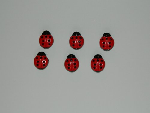Ladybug Office Push Pins set of 6 By Korkys Push Pins (Bug Push Lady Pins)