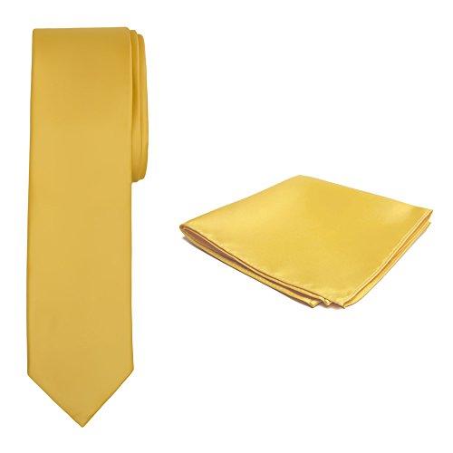 Jacob Alexander Solid Color Men's Slim Tie and Hanky Set - Bright Gold