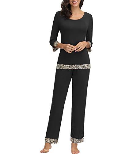 Zexxxy Women Pajama Set 3/4 Sleeve Leopard Print Sleepwear XL Black