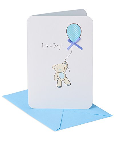 American Greetings Bear with Balloon New Baby Boy Congratulations Greeting Card with Ribbon