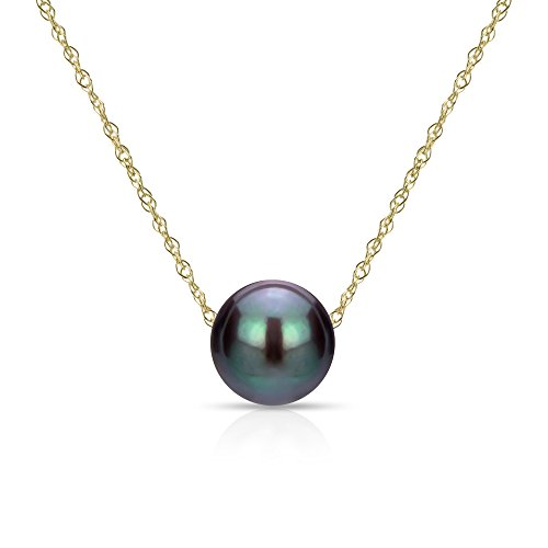 14k Yellow Gold Chain Necklace with Black Freshwater Cultured Pearl Floating Pendant, 18