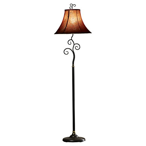61 Inch Whimsical Bronze Finish Floor Lamp with Cranberry / Gold Thread Bell Shade For Living Room by Alcott Hill