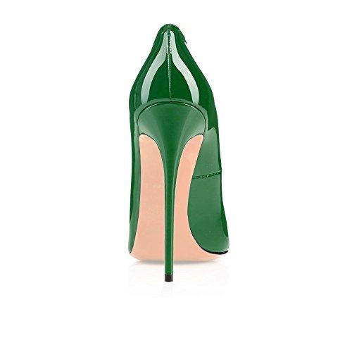 Tagliata High Di A Donne Elegante Green Shoes Pointed Tacchi Eldof Spillo 12cm Cut Classiche Alti Women A Toe Scarpe Stiletto Pompe 12cm Classic Scarpe Pumps Out Court Elegante Verde Corte Eldof Punta Heels gx1xaq5Cw