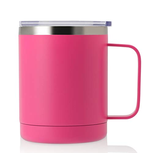 ONEB 12oz Tumbler Stainless Steel Coffee Mug with Handle - Double Wall Vacuum Cup wth Lid for Hot & Cold Drinks (Hot Pink, 12oz-1 Pack)
