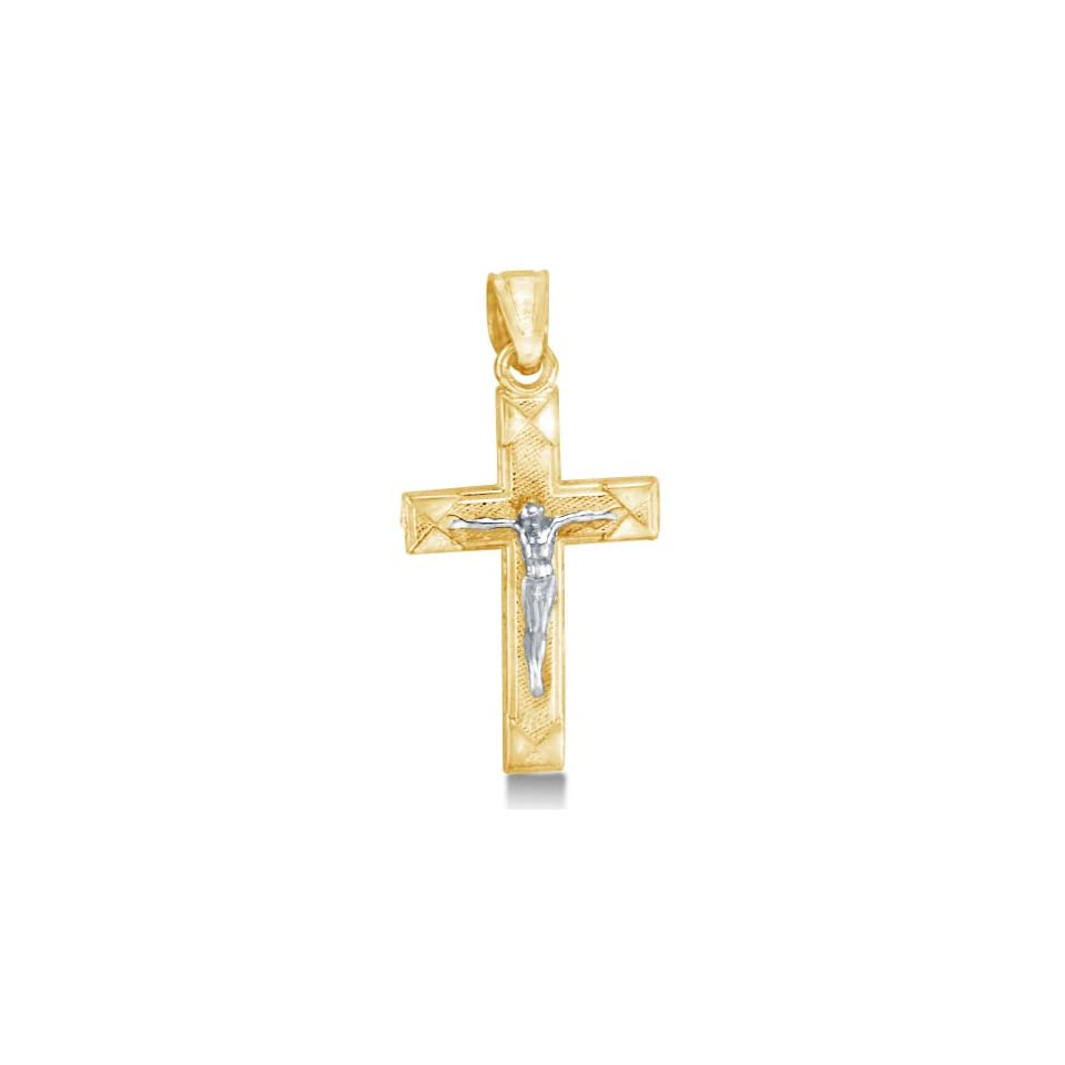 Solid 14K Yellow and White 2 Two Tone Gold Jesus Crucifix Cross Pendant Charm (Height = 3/4 , Width = 1/2)