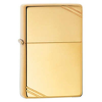 Zippo Lighter - Vintage With Slashes High Polish Brass ()