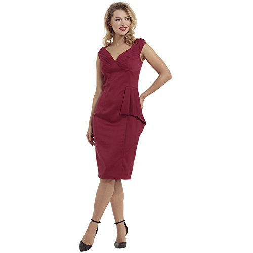 Voodoo-Vixen-Khloe-Pleated-Bust-Solid-Pencil-Dress-Red