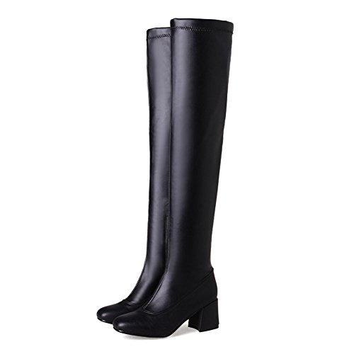 Square Toe High The Over Platform Thigh Leather Boot Knee Heel Black Dress Stretch Women's Kaloosh qaFwxXw