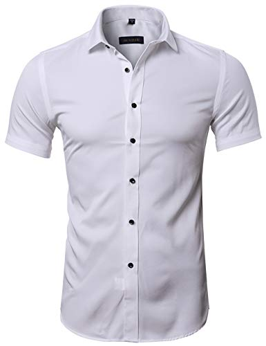 FLY HAWK Mens Dress Shirts, Fitted Bamboo Fiber Short Sleeve Elastic Casual Button Down Shirts