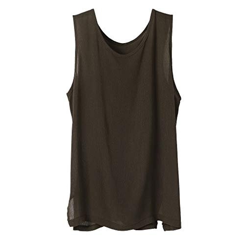 Stoota Men Casual Linen Vest,Loose Solid V-Neck Tank Tops,Short Sleeve Tee,Shirt Coffee -