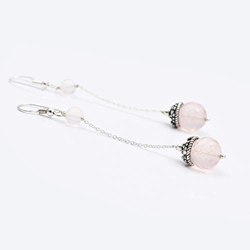 - Natural Pink Rose Quartz Beads Chandelier Gemstone Earrings with 925 Sterling Silver findings