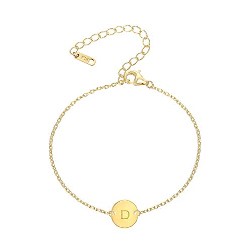MOMOL Initial Charm Bracelets, 18K Gold Plated Stainless Steel Dainty Small Round Coin Disc Initial Bracelet Engraved Letters Personalized Name Bracelet for Girls (D3)