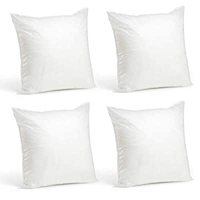 Foamily Set of 4 Premium Hypoallergenic Stuffer Pillow Insert Sham Square Form Polyester, Standard/White