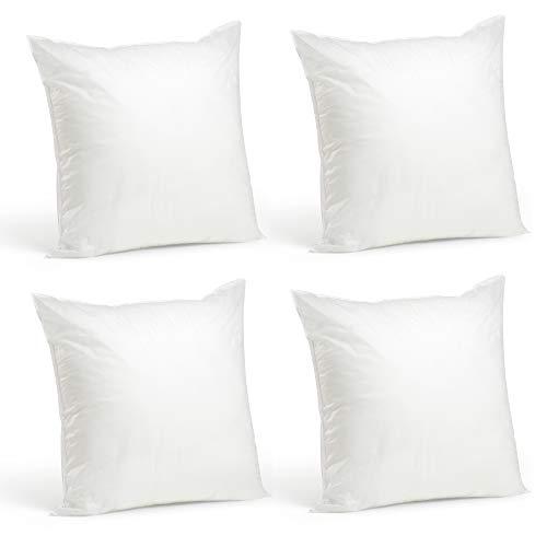 "Foamily Set of 4-20 x 20 Premium Hypoallergenic Stuffer Pillow Inserts Sham Square Form Polyester, 20"" L X 20"" W, Standard/White"