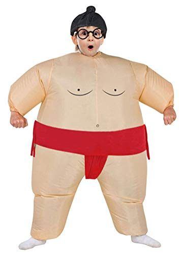 Inflatable Costumes Adult/Kids,Halloween Cosplay Japanese Samurai Wrestler Wrestling Suits Blow up Costume(Kids,Red) by SATUKI