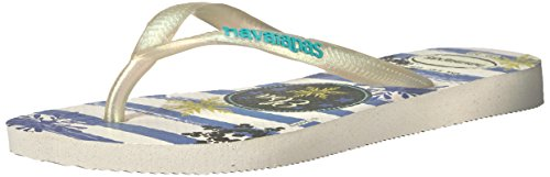HavaianasKids Slim Frozen Sandal, White/Royal 25/26 BR/Little Kid (10 M - Kids Havaianas White