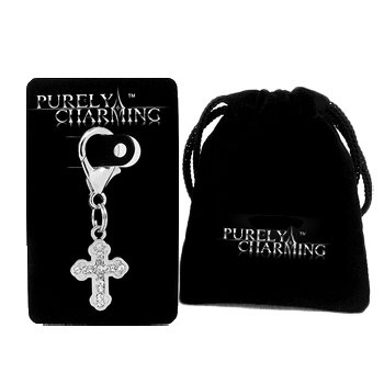 (PURELY CHARMING Pet Charm / Pendant with Handset Swarovski Crystals - Gothic Cross)