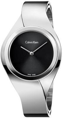 Calvin Klein K5N2S121 Women's Silver Stainless Steel Watch with Black Dial Face