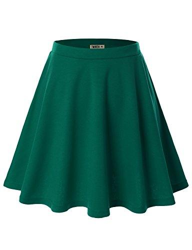 Doublju Women Plus-size Animal Print Elastic Waist Band Flared Skater Skirt Cwbss03_Kellygreen 3XL