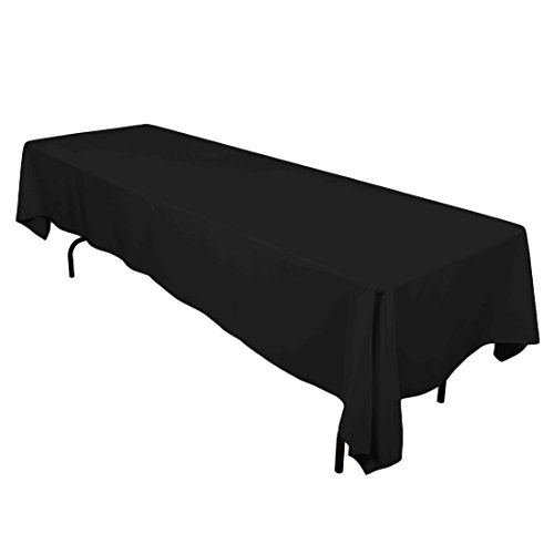 Gee Di Moda Rectangle Tablecloth - 60 x 126 Inch - Black Rectangular Table Cloth for 8 Foot Table in Washable Polyester - Great for Buffet Table, Parties, Holiday Dinner, Wedding & More