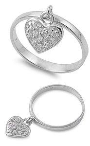 11mm .925 FINE ITALIAN Sterling Silver W/CZ CHARM, LOVE, HEART & HAPPINESS Ring 4-10 (4, sterling-silver)