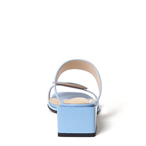 Comfort Estivi Pink Sandali Blue Pantofole Heel Infradito per DANDANJIE da Toe Dress Donna Scarpe e Chunky Blu Open XqAgxawt