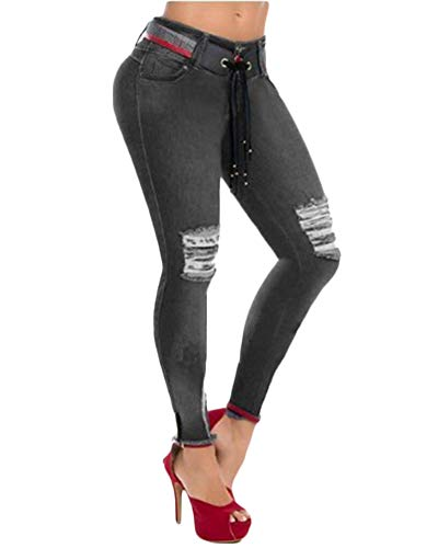 Denim Slim Jeggings Pantalons Pantalon Dchir Femmes Fit Crayon Skinny Gris Jeans YwfSxpxHq