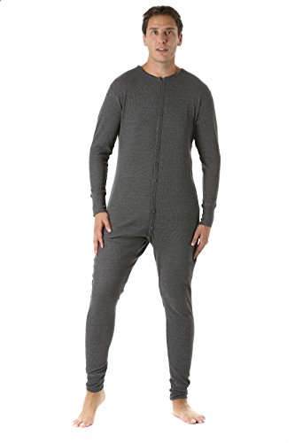 #followme 9393-CHR-XXL Men's Solid Thermal Henley Onesie Charcoal