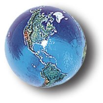 Blue Earth Marble With Natural Earth Continents, Recycled Glass, Quantity 5, Half-Inch Diameter by Marbles, Globes & Gifts