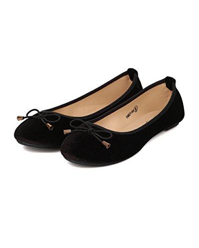 Alrisco Women Velvet Ballerina Flat - Bow Tie Ballet Flat - Round Toe Flat - GI46 by Black Velvet HtvlhQbD9n