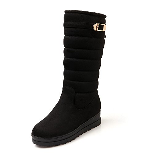On Closed Mid Toe Women's Top Blend Pull Black wedge Round AgooLar Boots Materials 1Bxp8Yxw