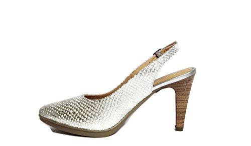 Desiree-Zapatos de salon destalonados en piel grabada -plata