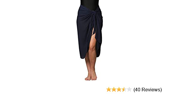 Opaque No See Thru Sarong Print Swimsuit Sarong Cover up with Built in Ties