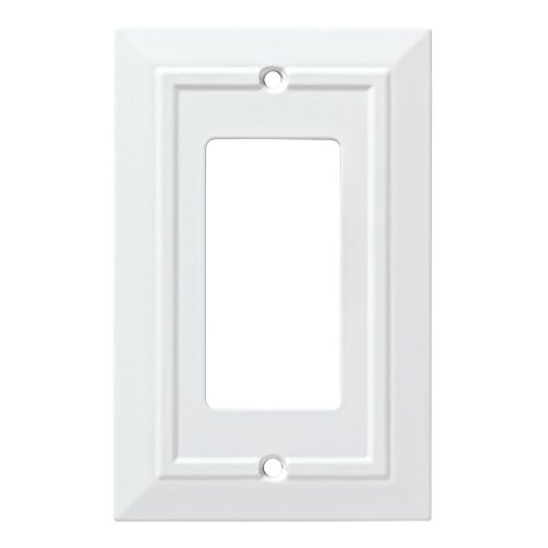 Design Single Outlet Switchplate Cover - Franklin Brass W35243-PW-C Classic Architecture Single Decorator Wall Plate/Switch Plate/Cover, White