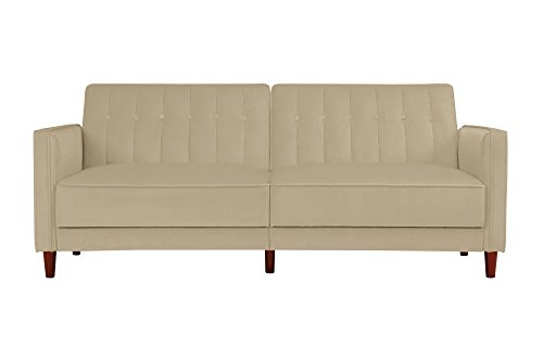 DHP DZ17552 Ivana Tufted Futon, Tan Velvet (Sofa Buy Velvet)