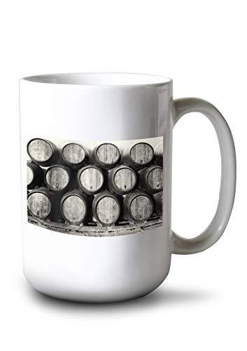 Lantern Press Wine Barrels in Black and White Photography A-93550 (15oz White Ceramic Mug)