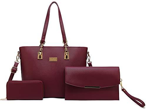 (Women Tote Handbag + Envelopes + Wallet 3 Piece Set Bag Shoulder Bag for Work (Purple) )