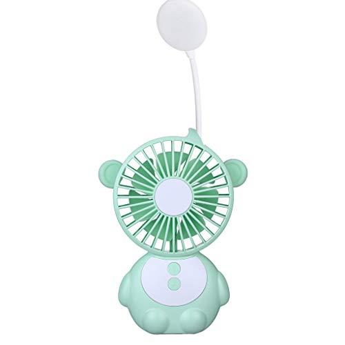 Mini Desktop Fan Portable USB Rechargeable Fan NEW 2019 Monkey Elf Table Fan Is Also Mobile Power and Table Lamp (Mint Green)