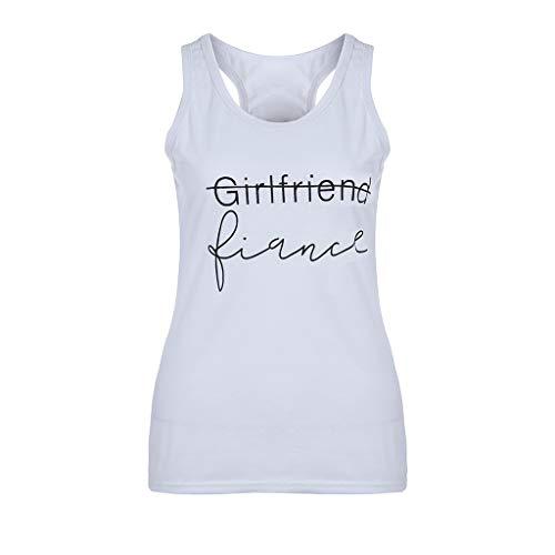 NCCIYAZ Womens Girls Vest Tank Slogan Letters Print Camis Sleeveless Top Plus Size Ladies Blouse T-Shirt(XL(8),White)