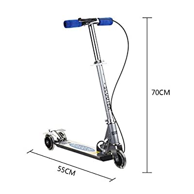 KIGNSO Folding Kick Scooters Scooter with PVC Light Wheels Children's Foot Scooter Handbrake (Blue) : Sports & Outdoors