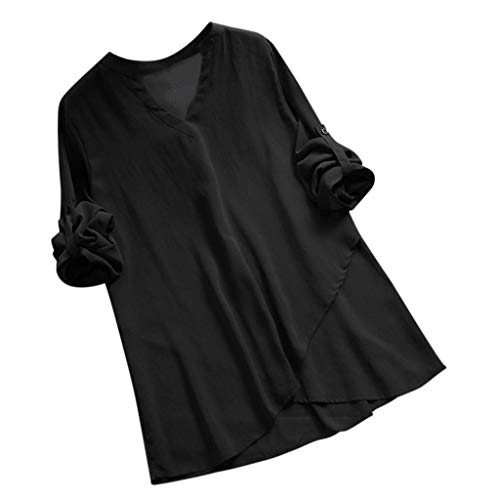 - GHrcvdhw Women Broadcloth Casual V-Neck Full Sleeve Shirts Button Comfortable Solid Blouses Tops Black