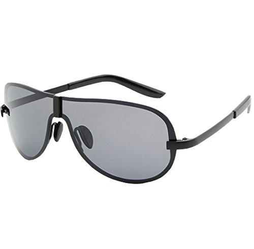 De UV400 Light Gafas Men's Polarizadas Perspective Black Black Frameless Resina Visible 99 QQBL Metal Sol Gray 9 Black fqHwI