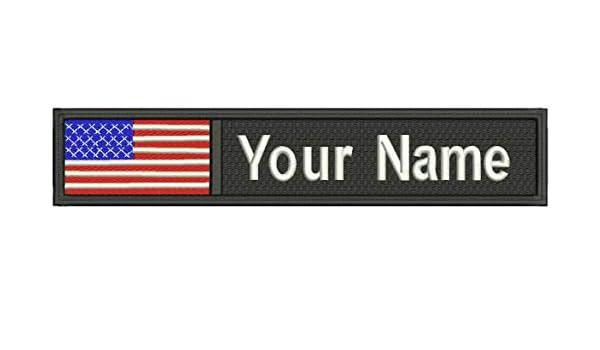 44ebf2f52a0a Amazon.com: USA ID Flag Custom Embroidered Name/Text Tag Patch Sew ...