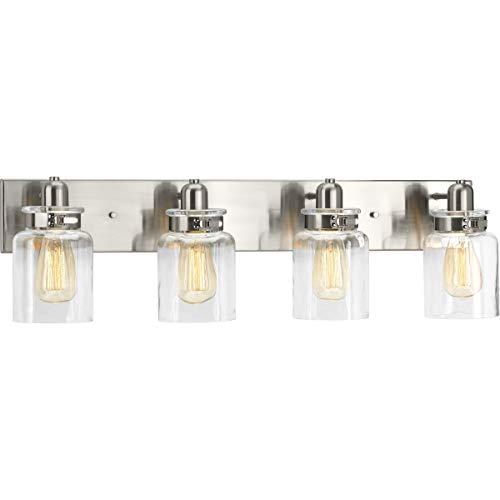 Calhoun Collection Brushed Nickel Four-Light Farmhouse Bath Vanity Light